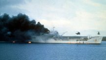 The ship Sir Galahad burns after being hit by the Argentine air force.