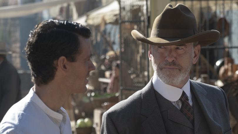 Henry Garrett and Pierce Brosnan in The Son
