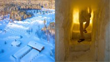 This sauna in Finland is made almost entirely from snow