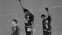 Tommie Smith and John Carlos give the black power salute on the podium of the Mexico City Ollympic Games.