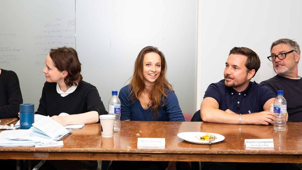 The cast of Alibi's Traces at a script read-through
