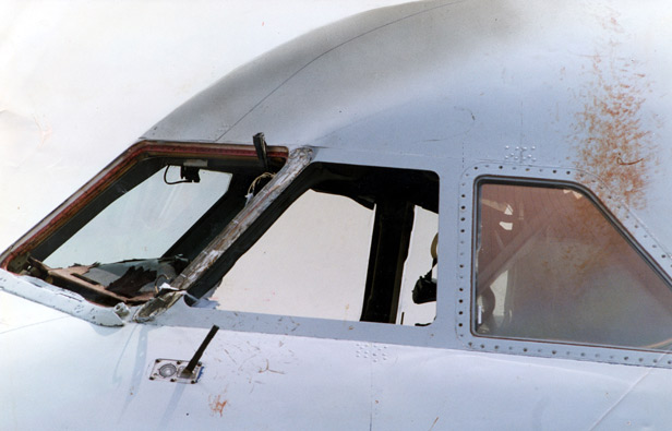 The cockpit of BA5390 in the aftermath of the incident, showing the blown-out window and Captain Lancaster's blood.