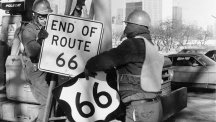 Workmen in Los Angeles remove the Route 66 signs in 1977.